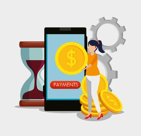 woman with smartphone and digital coin with hourglass and gears vector illustration 向量圖像