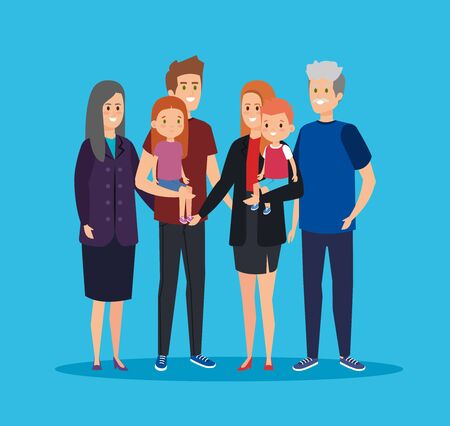 fathers and mothers with grandparents and kids togethers vector illustration Çizim