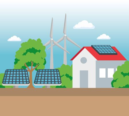 house with solar and wind energy to ecology conservation vector illustration Imagens - 133156816