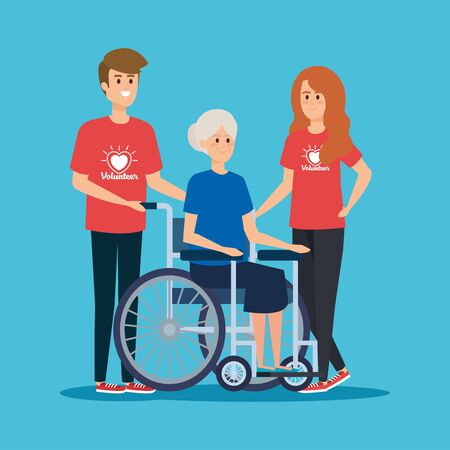 boy and girl volunteers with old woman in the wheelchair vector illustration