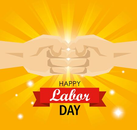 hands fist bump to labor day celebration vector illustration