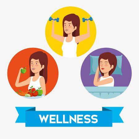 Gesundheitsfrau auf Lifestyle-Balance-Vektorillustration einstellen