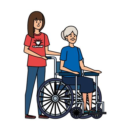 young woman volunteer with old woman in wheelchair vector illustration design Stock Illustratie