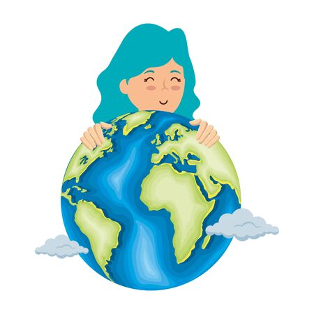 woman with world planet earth vector illustration design Çizim