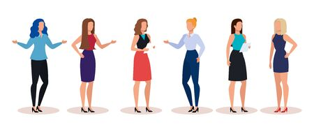 group of businesswomen avatar character vector illustration design Stock Illustratie