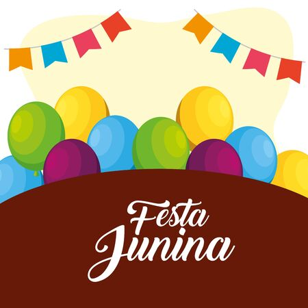 party banner with balloons to festa junina vector illustration
