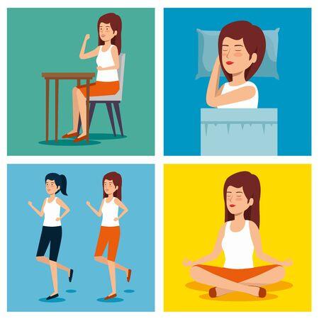 set woman health lifestyle to wellness balance vector illustration