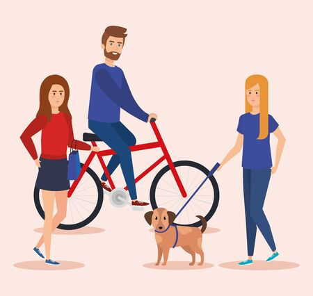 young couple in bicycles avatars characters vector illustration design