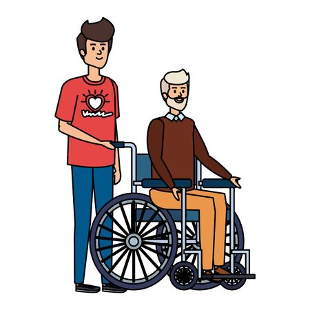 young man volunteer with old man in wheelchair vector illustration design