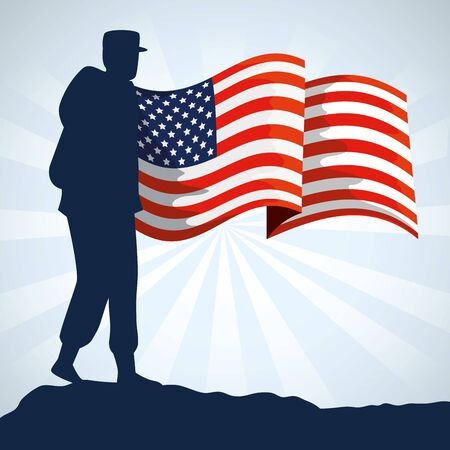 military woman silhouette with usa flag vector illustration design
