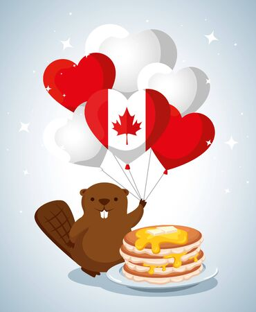 beaver with canada flag balloons and pancakes vector illustration