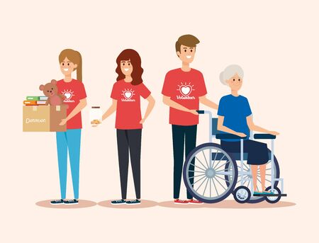 girls and boy volunteers with old woman and donation vector illustration Stock Illustratie