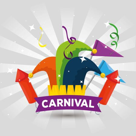 joker hat decoration with flags and fireworks to carnival celebration vector illustration