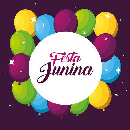Étiquette avec décoration de ballons à festa junina vector illustration