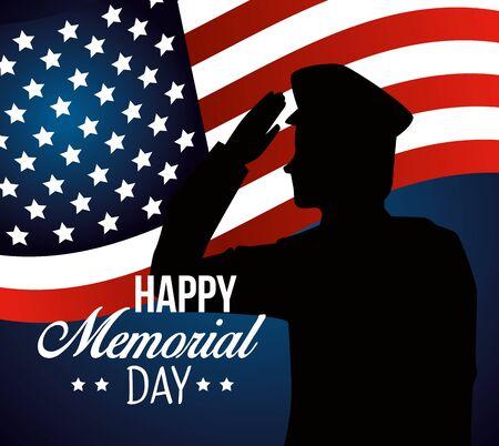 patriotic soldier with usa flag celebration vector illustration