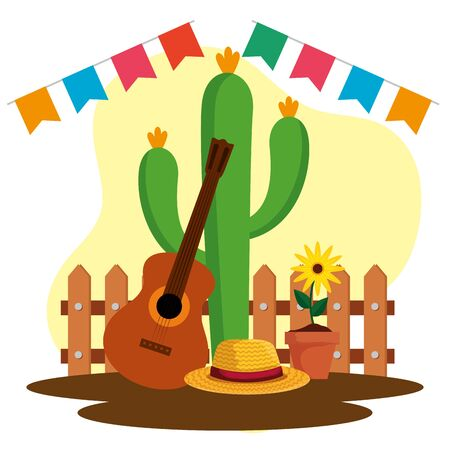 party banner with cactus plant and guitar vector illustration