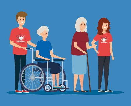 boy and girl volunteer with old woman to donation vector illustration Illustration