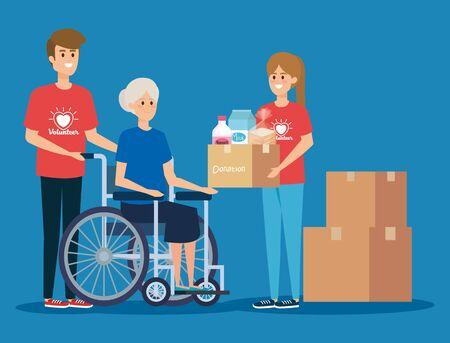 girl and boy with old woman and box donation vector illustration Illustration