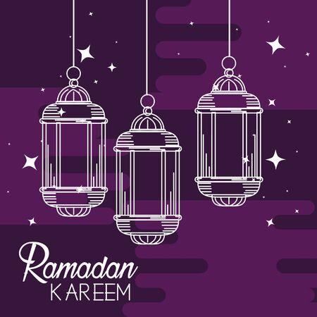 lamps hanging decoration to ramadan kareem vector illustration