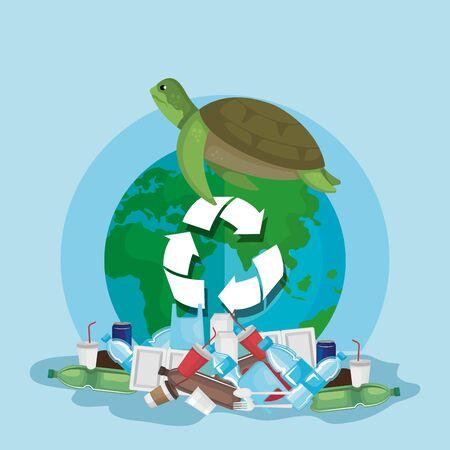 toxic plastics waste pollution and turtle animal contamination vector illustration Vettoriali