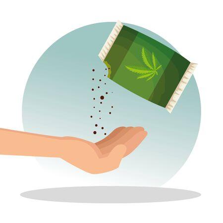 hand with bag and medicine cannabis plant seeds vector illustration Ilustração