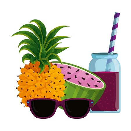 watermelon and pineapple juice with pot and sunglasses vector illustration design Standard-Bild - 133064281