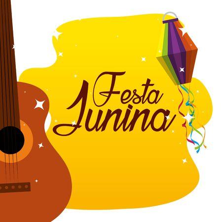 guitar with lantern to festa junina celebration vector illustration