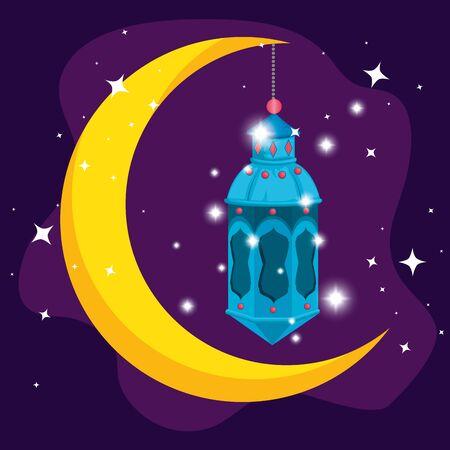 moon with lamp hanging to ramadan kareem vector illustration