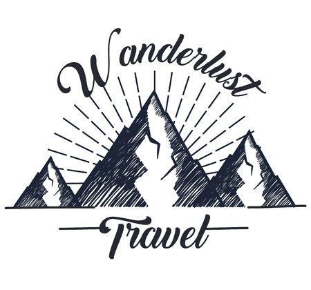 snowy mountains to wanderlust travel adventure vector illustration