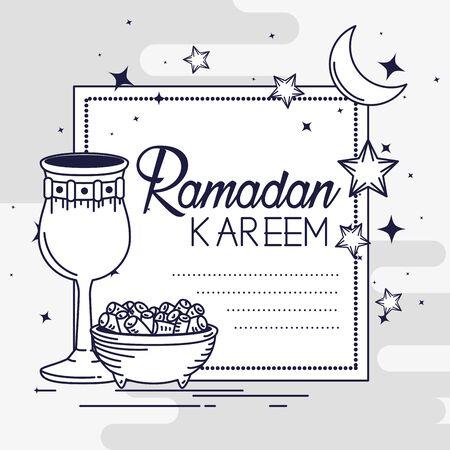 ramadan kareem card with moon and chalice vector illustration Stock Illustratie