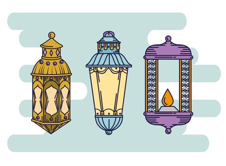 set lamps decoration to ramadan kareem festival vector illustration  イラスト・ベクター素材