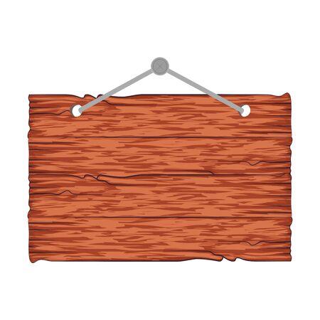 etichetta di legno appesa icona illustrazione vettoriale design Vettoriali