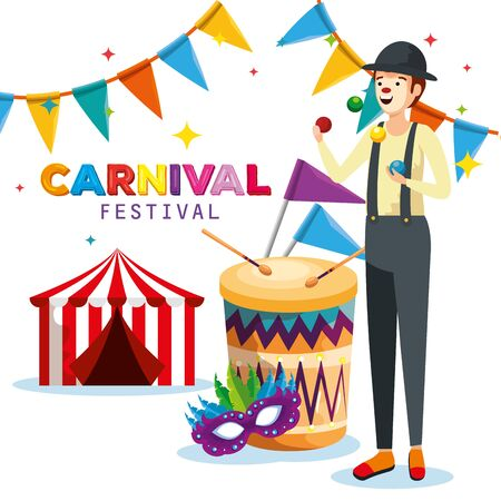 man mime with drum and party banner with circus and mask vector illustration
