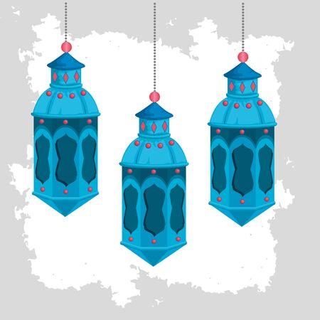 lamps hanging to ramadan kareem celebration vector illustration Stock Illustratie
