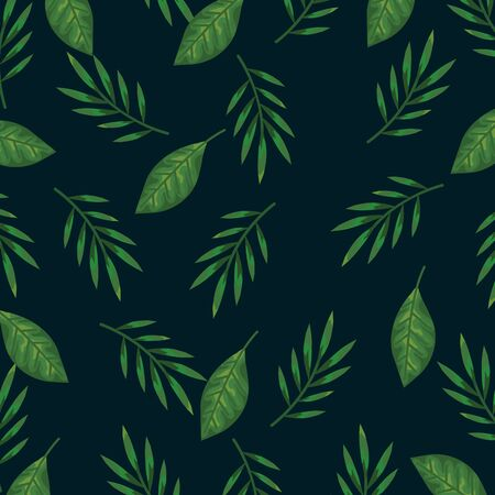 nature branches plants and exotic leaves background vector illustration Ilustrace