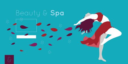 beauty and spa card with woman and flowers petals vector illustration design