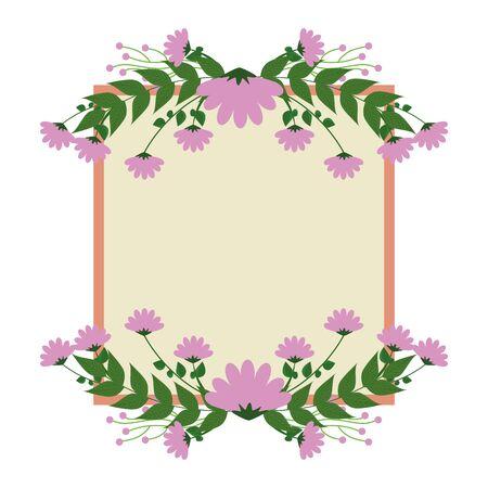 beautiful roses with leafs elegant frame vector illustration design Ilustrace