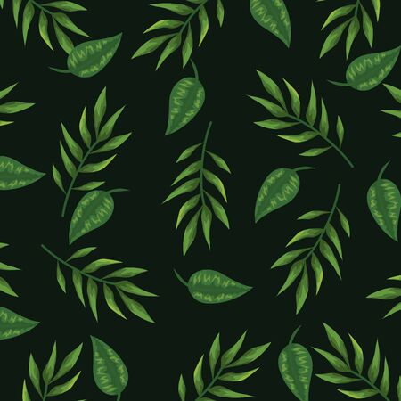 nature leaves with branches plants background vector illustration