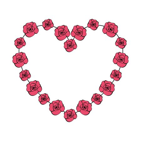 beautiful roses with heart shape vector illustration design