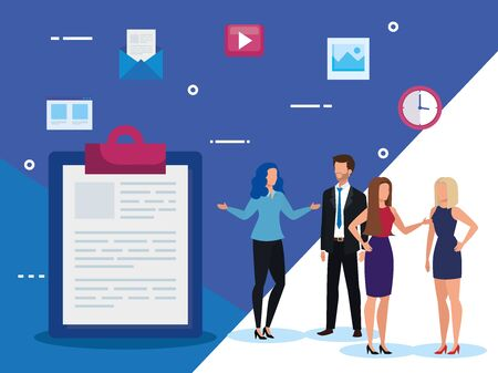 group of business people with clipboard and icons vector illustration design Ilustrace