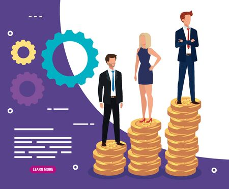 business people on pile coins and gears vector illustration design