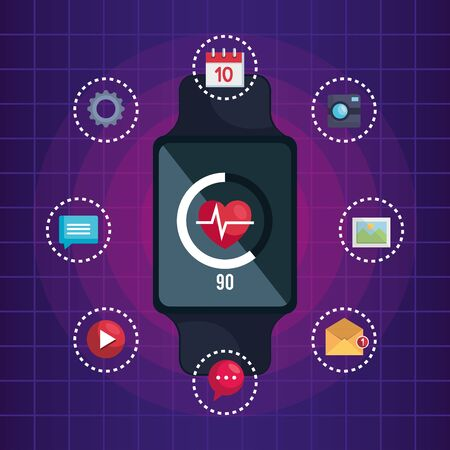 smartwatch technology with heartbeat and social app vector illustration