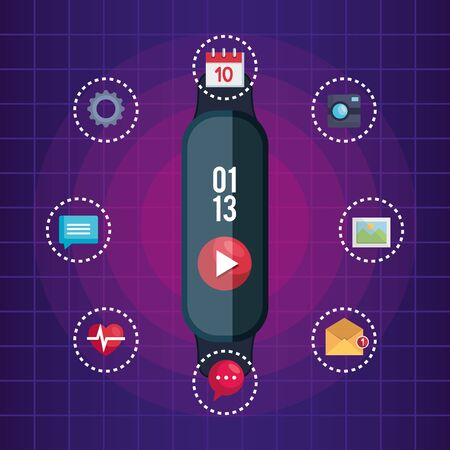 smartwatch technology with video and social app vector illustration