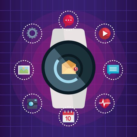 smartwatch technology with letter and social app vector illustration