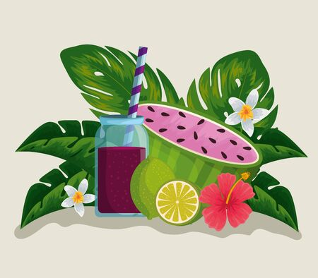 tropical fruits with fresh beverage and flowers plants vector illustration