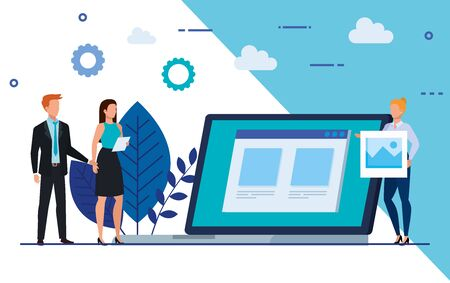 group of business people with laptop and icons vector illustration design