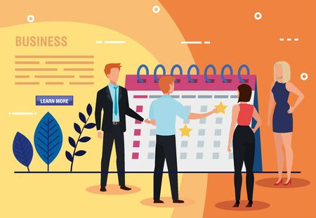 business people with calendar and leafs vector illustration design