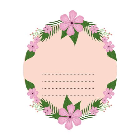 circular postcard with flowers and leafs decoration vector illustration design Reklamní fotografie - 133067665
