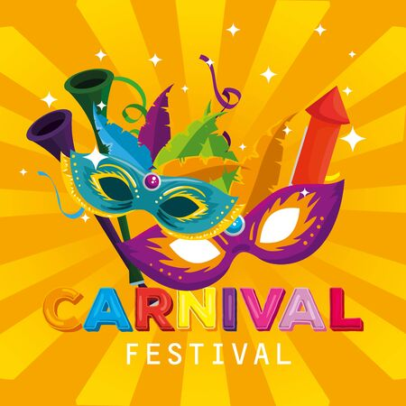 carnival masks with feathers decoration and firework to party vector illustration Ilustracja