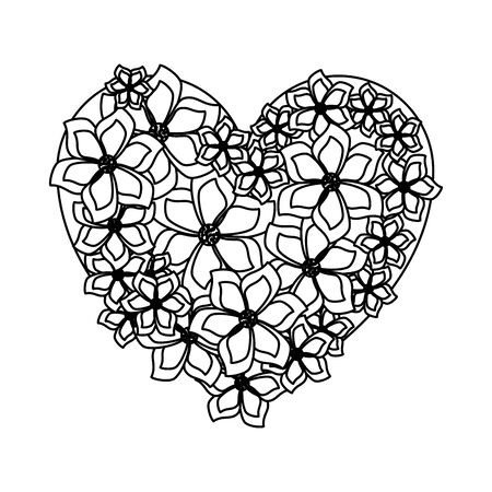beautiful flowers with heart shape vector illustration design